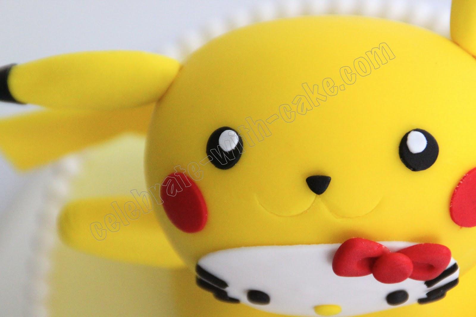 Hello Kitty In Pikachu Costume Cake