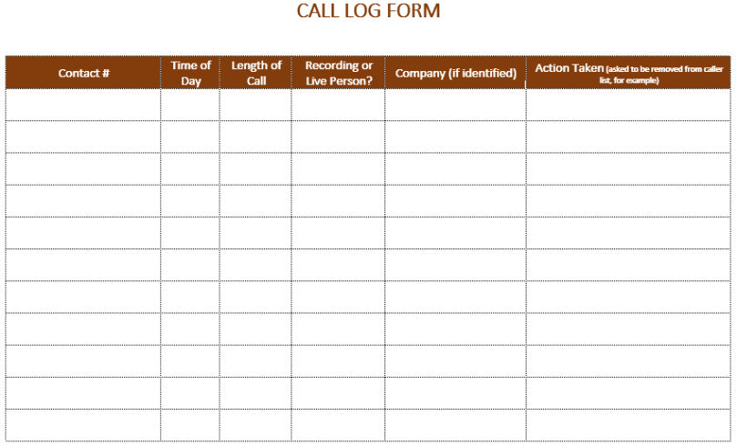 excel call log