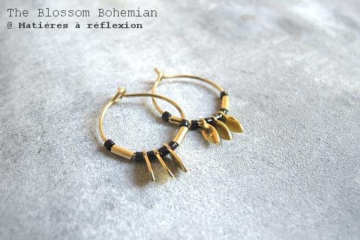 bijoux Blossom Bohemian boucles mini créoles noires Sun