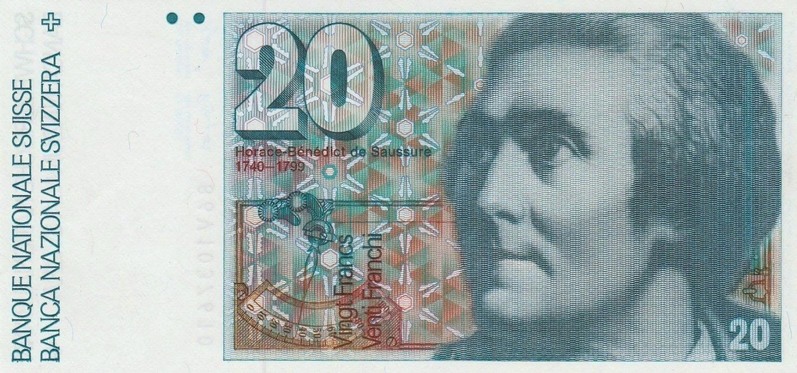 Banknotes of Switzerland 20 Swiss Franc note, Horace-Benedict de Saussure