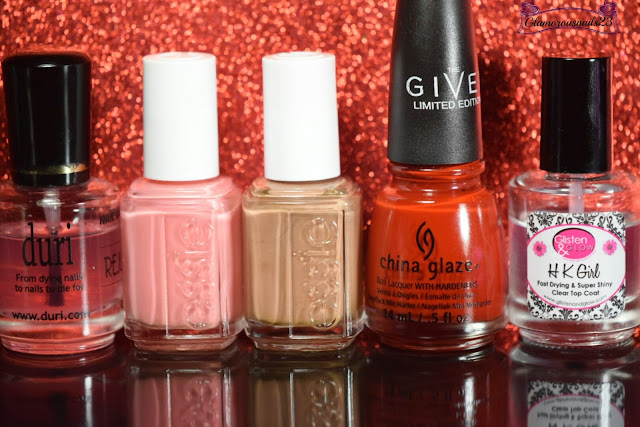 Duri Rejuvacote, Essie Stones & Roses, Essie Cocoa Karma, China Glaze Seeing Red, Glisten & Glow HK Girl Fast Drying Top Coat