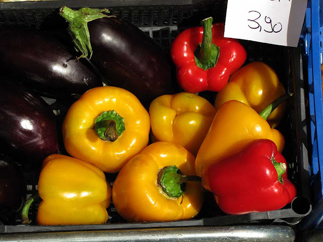 Red and yellow peppers, eggplants, Livorno