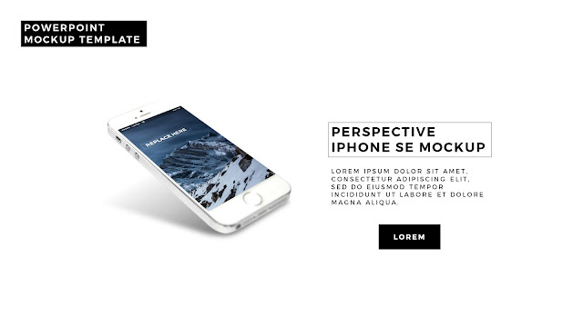 Realistic iPhone SE Mock-up template in PowerPoint slide 1