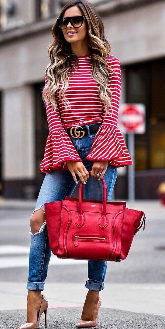 amazing ootd: red top + bag + heels + ripped jeans