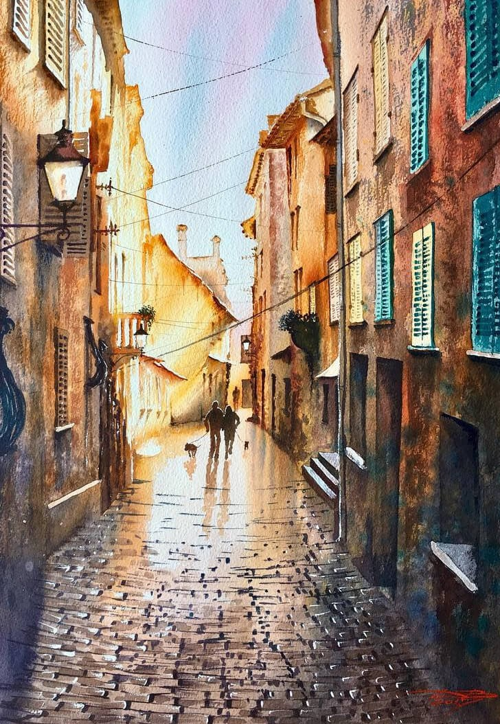 06-Daylight-Igor-Dubovoy-Realistic-Urban-Watercolor-Paintings-www-designstack-co