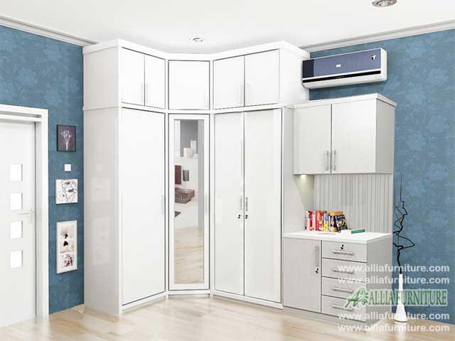 lemari pakaian minimalis model sudut xavi