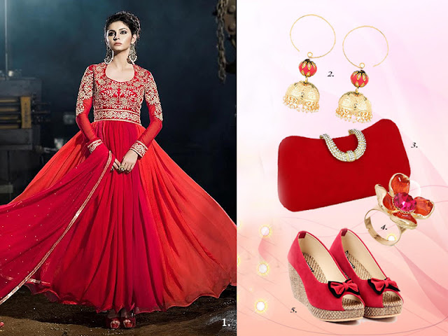 Right kinds of accessories with Anarkali dresses - Kaseesh online
