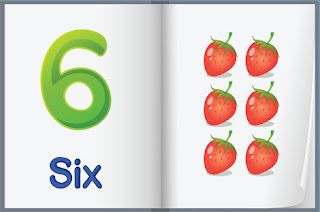 Clipart Image of a Book With the Number Six and Six Strawberries