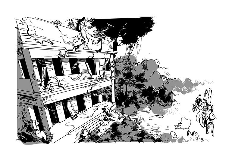 kids novel black white illustration for tagbag