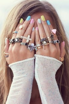Boho Rings and Colorful Nails