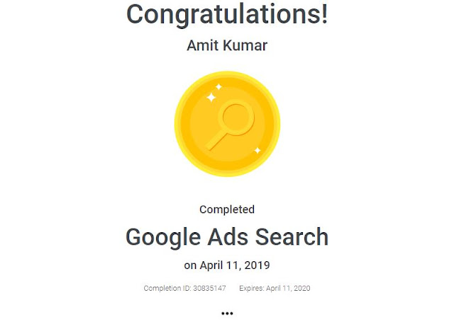 Google Search Certification Amit Kumar