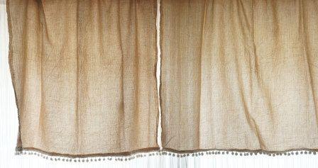 Tea Dyed Flour Sack Curtains