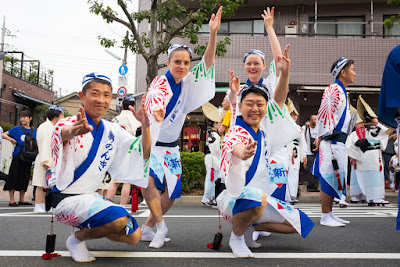 Faces from all over the world at the 60th Koenji Awa-Odori, Suginami-ku, Tokyo.