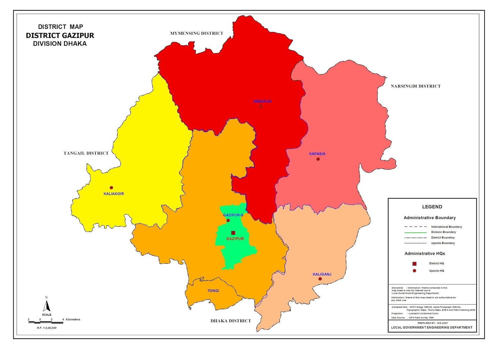 Gazipur District Map Gazipur District