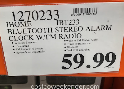 Deal for the iHome Dual Alarm Stereo Clock Radio (iBT233) at Costco