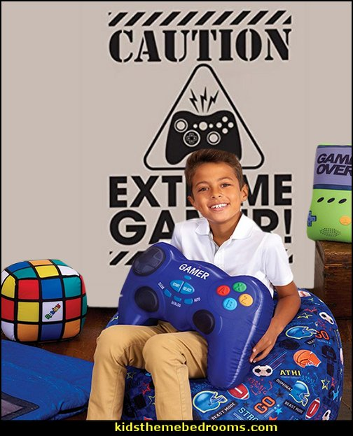 Video Game Controller Shaped Pillow  Gamer bedroom - Video game room decor - gamer bedroom furniture - gamer wall decal stickers - Super Mario Brothers Wall Stickers - gamer bedding - Super Mario Brothers bedding - Pacman decor -  Retro Arcade bedrooms - 80s video gamers - gamer throw pllows - minecraft bedroom ideas - minecraft bedroom decor