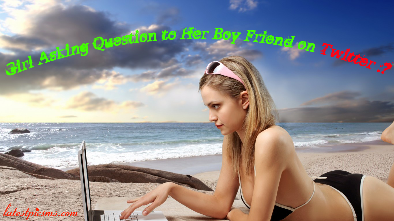 Sweet Girl on Beach using Laptop