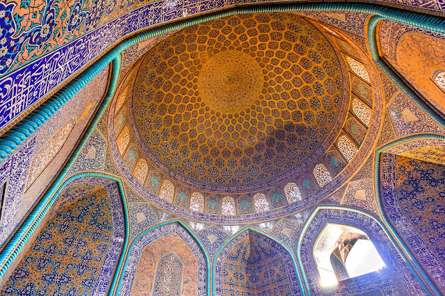 The stunning tile works under the dome of Sheikh Lotfollah mosque in Isfahan.