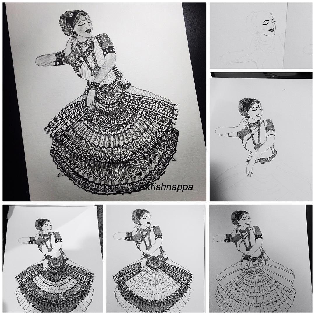08-Bharatanatyam-Rashmi-Krishnappa-Calm-and-Serenity-in-Balanced-Pen-drawings-www-designstack-co