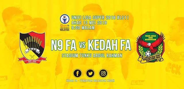 Live Streaming Negeri Sembilan vs Kedah 13.5.2018