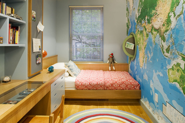 Contemporary Kids Bedroom Decorations With World Map Wallpaper And Wooden  Flooring Featuring Slim Wooden Headboard And Minimalist Window Shelf And  Complete ...