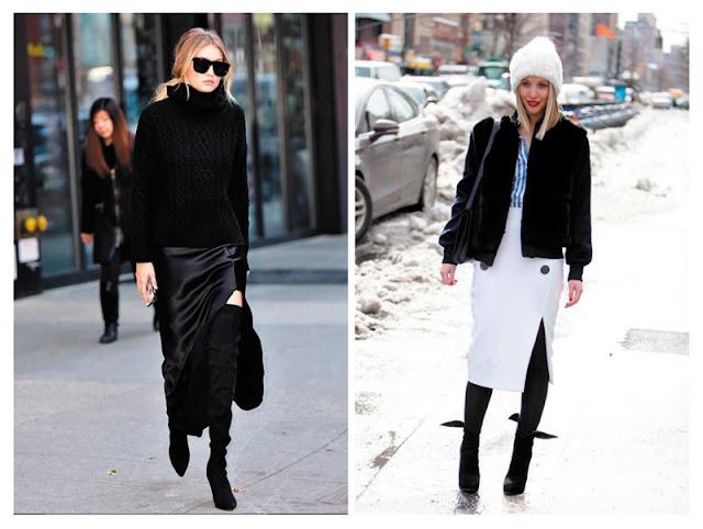 Юбки с высоким разрезом с ботфортами зимой образы с улицы