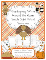Thanksgiving Write Around the Room Sight Word Sentences
