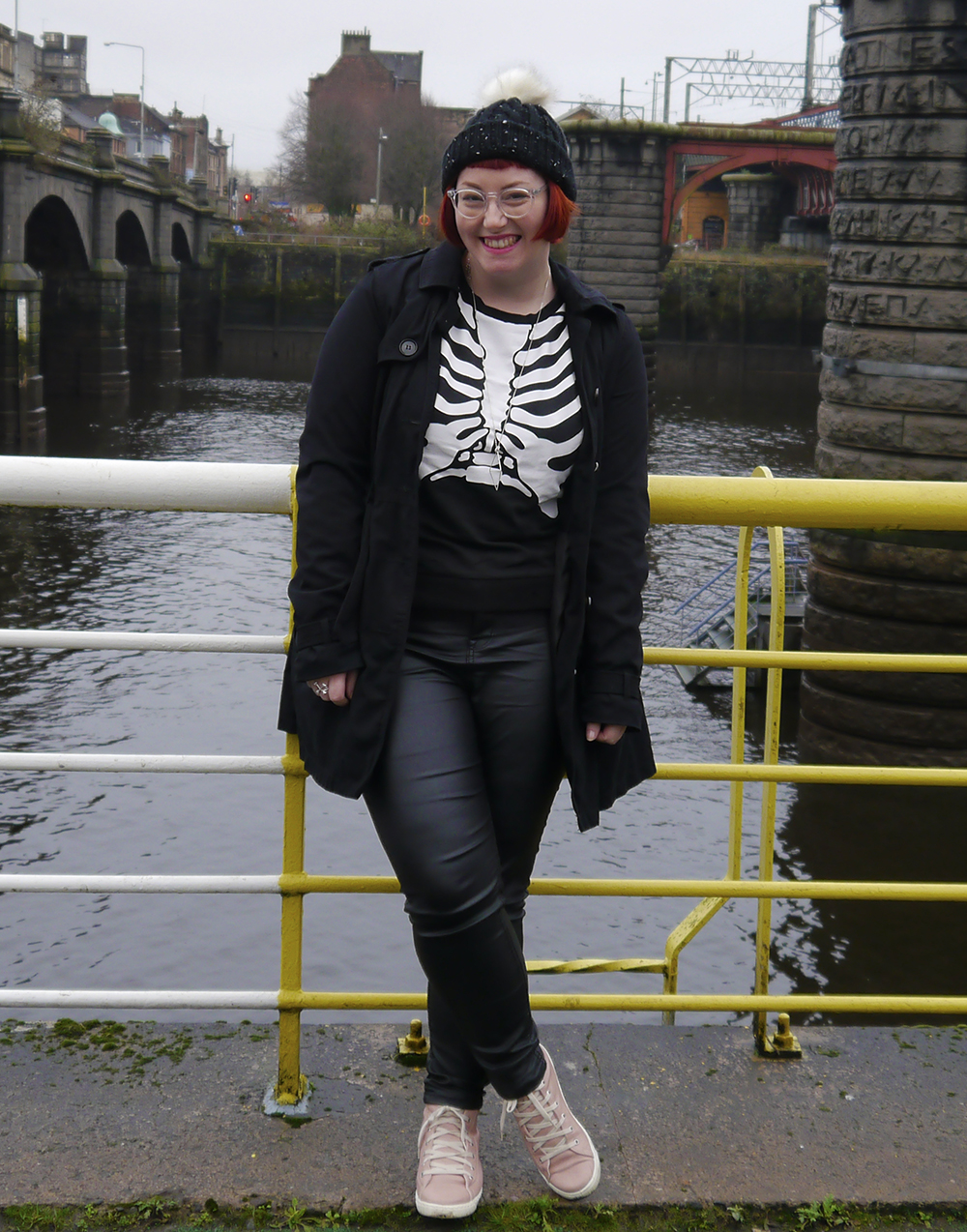 Styled by, Wardrobe Conversations, Scottish blogger, Dundee blogger, Glasgow, winter blues, winter outfit, monochrome outfit, Halloween outfit, skeleton jumper, H&M skeleton jumper, bobble hat, Tiger Stores winter hat, pom pom hat, blacn and white outfit, Scottish style, IOLLA, #seewithIOLLA, geometric jewellery, silver jewellery, Sunday style, trainers, pink trainers, charity shop style, accessorize necklace, #BMM, Bloody Mary Metal, Crossbones ring