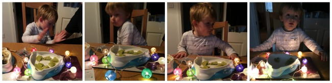 collage-of-pictures-of-toddler-at-dining-table-with-fairy-lights