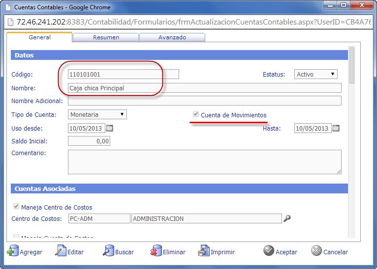 Formulario de Cuentas Contables - Configuración del Plan de Cuentas en eFactory Contabilidad