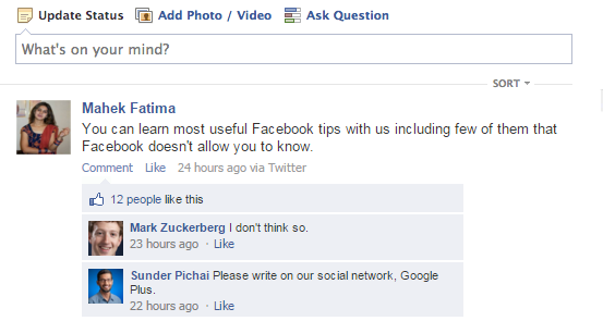 wanna prank friend by creating fake status on facebook. Here it is!