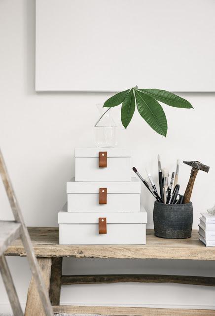 Design zum Selbermachen aus Karton und Schuhkarton - einfach streichen und mit Lederband versehen, schon ist Aufbeahrung für Zuhause und Büro fertig