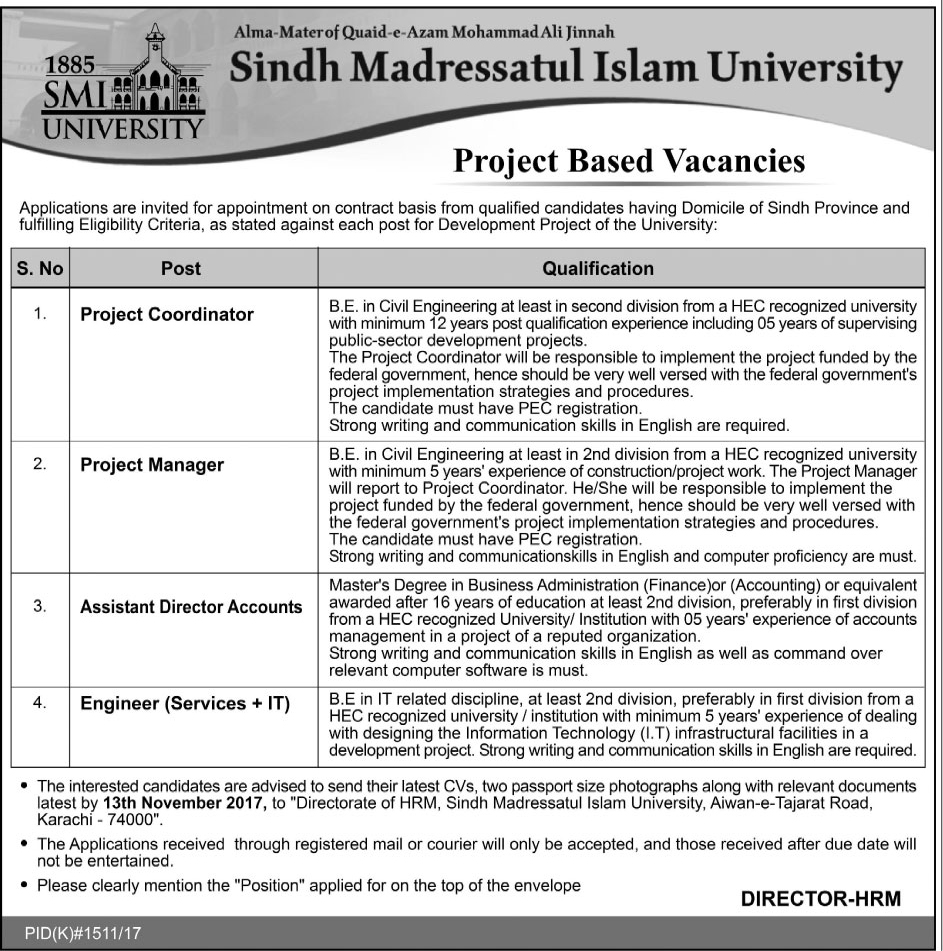 Jobs in Sindh Madressatul Islam University  November 1st 2017.