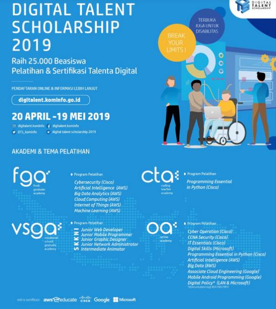Raih 25.000 Beasiswa Digital Talent Scholarship 2019 Bagi Lulusan SMK, D3, S1/D4, Guru dan Masyarakat Umum