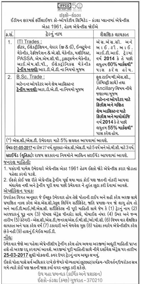 IFFCO Kandla Requirement 2017 for Various Trade Apprentice Post