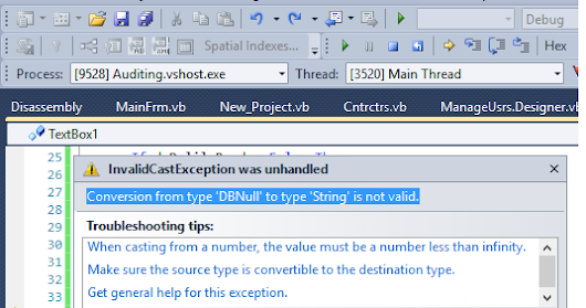 VB 2010 with MS Access 2010 Error Conversion from type 'DBNull' to type 'String' is not valid.