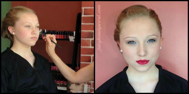 prom makeup with red lipstick
