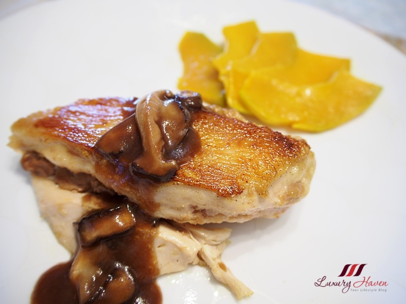 foie gras chicken red wine sauce grilled pumpkin