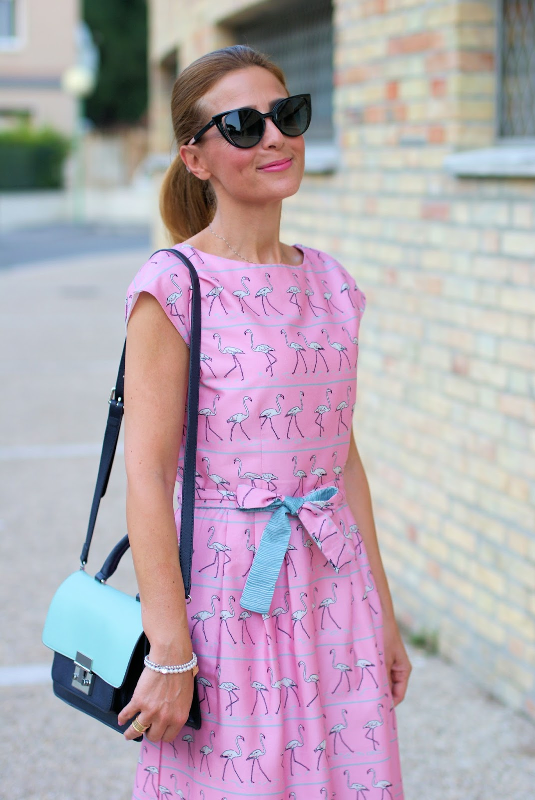 Bryony and Co pink flamingo dress, abito fenicotteri rosa on Fashion and Cookies fashion blog, fashion blogger style