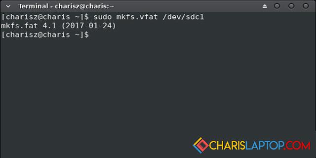cara format flashdisk linux