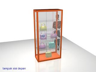 Etalase Display Kaca Untuk Memajang Tas