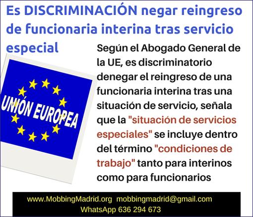Es Discriminación negar reingreso de funcionaria interina tras servicio especial