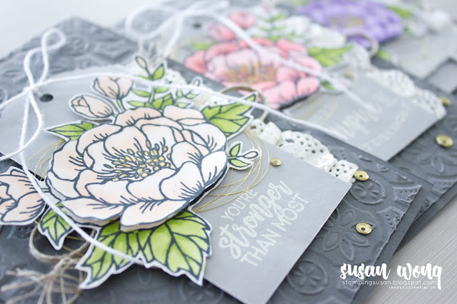 Birthday Blooms + Tin Tile Embossing Folder by Stampin' Up! - DIY floral card by Susan Wong - set of three