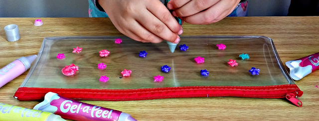 Decorating a pencil case with Gel-a-Peel
