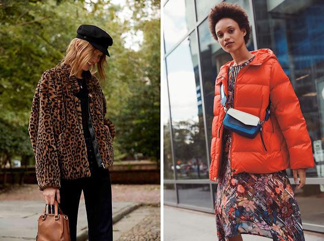 Девушка в леопардовой шубе и кепке и в оранжевом пуховике и с яркой сумкой
