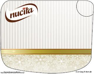 Etiqueta Nucita de Dorado y Gris para imprimir gratis.