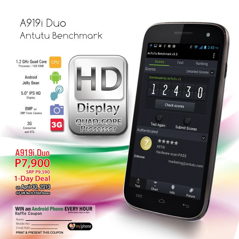 New MyPhone A919i Duo Quad Core Android phone on Sale for the price of P7900