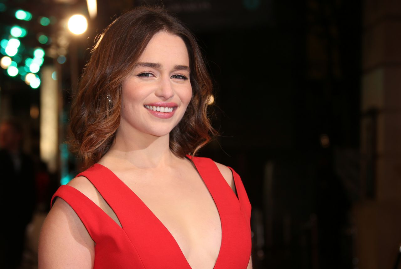 Emilia Clarke in a plunging gown at the BAFTAs 2016