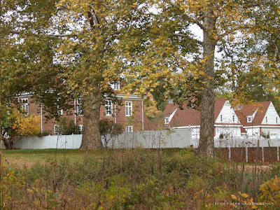 Brick manor house and white clapboard outbuildings are seen through trees