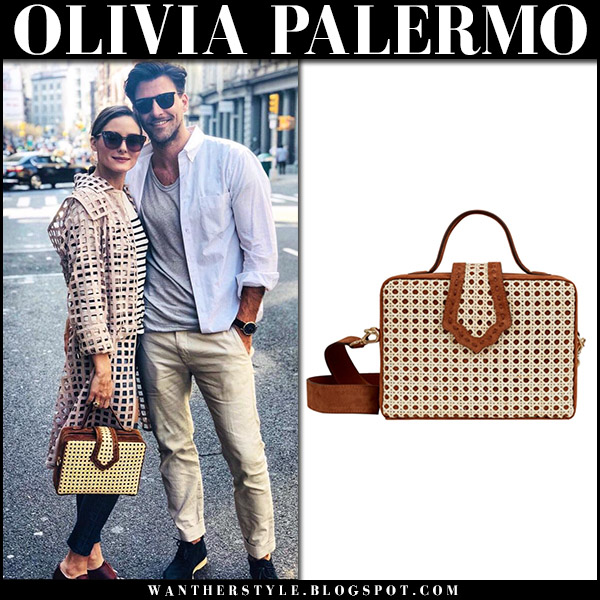 Olivia Palermo with brown perforated bamboo box bag mehry mu fey spring street style april 15
